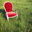 Dreamlike armchair on a meadow - Stock Photo