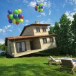 Air balloons flying house - Stock Photo
