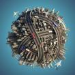 miniatura caótico urbano planeta isolada — Foto Stock #8198791