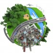 Stockfoto: Isolated miniature globe tranports and life styles
