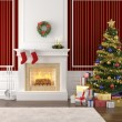 Stylish fireplace decorated for christmas — Stock Photo #8199052