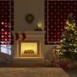 Cozy decorated xmas fireplace front view — Stock Photo #8199059