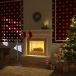 Royalty-Free Stock Photo: Cozy xmas fireplace with tree and presents