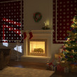 Cozy xmas fireplace with tree and presents - Stock Photo