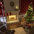 Traditional xmas fireplace - Stock Photo
