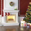 Traditional fireplace decorated for christmas - Stock Photo
