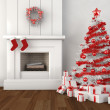 Christmas fireplace white and red — Stock Photo