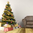 Christmas tree in living room — Stock Photo