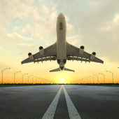Takeoff plane in airport at sunset — Stock Photo