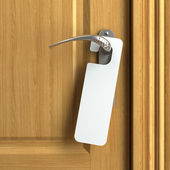 White card with copy space on doorknob — Stock Photo