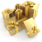 Golden gifts isoleted — Stock Photo