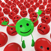 Jumping green smiley — Stock Photo