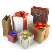 Pile of several different gifts — Stock Photo