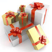 Pile of gifts isoleted on white — Stock Photo