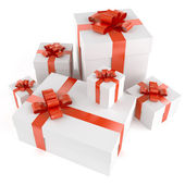 Pile of white gifts — Stock Photo