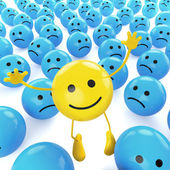Yellow jumping smiley between sad blues — Stock Photo