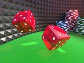 Kostky na kasino tabulky — Stock fotografie