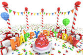 Cartton like birthday party illustration — Stock Photo