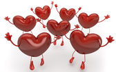 Happy hearts series, many red hearts jumping to be choosen among — Stock Photo