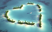 Aerial view of heart-shaped island — Stock Photo