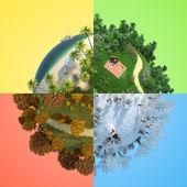 Four season miniature globe — Stock Photo