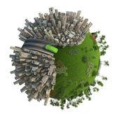 Zelená energie dopravní koncepce planeta — Stock fotografie