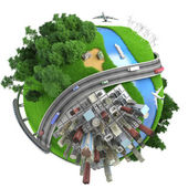 Miniatura aislado mundo transporte y estilos de vida — Foto de Stock