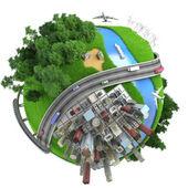 Minyatür izole küre tranports ve yaşam tarzları — Stok fotoğraf