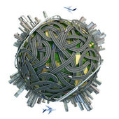 Kavramsal topak küre ile yollar ve şehirler — Stok fotoğraf