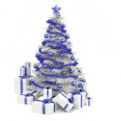 Blue and white christmas tree isolated — Stock Photo
