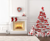 White and red christmas fireplace interior — Stok fotoğraf