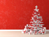 White xmas tree on red wall — Stock Photo