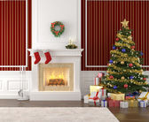 Stylish fireplace decorated for christmas — Stock Photo