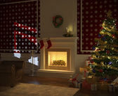 Cozy xmas fireplace with tree and presents — Stock Photo