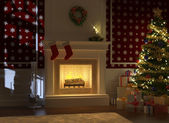 Cozy fireplace decorated for christmas with santa silhouette — Stock Photo