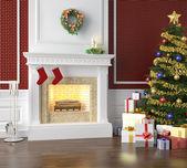 Traditionellen kamin dekoriert zu weihnachten — Stockfoto
