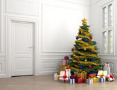 Christmas tree in classic room — Stock Photo