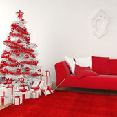 Christmas interior in white and red — Stock Photo