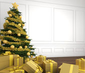 Golden christmas tree in white room close up — Stock Photo