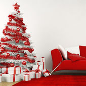 White and red christmas tree in a modern home — Stock Photo