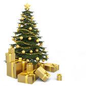 Golden isolated christmas tree — Stock Photo