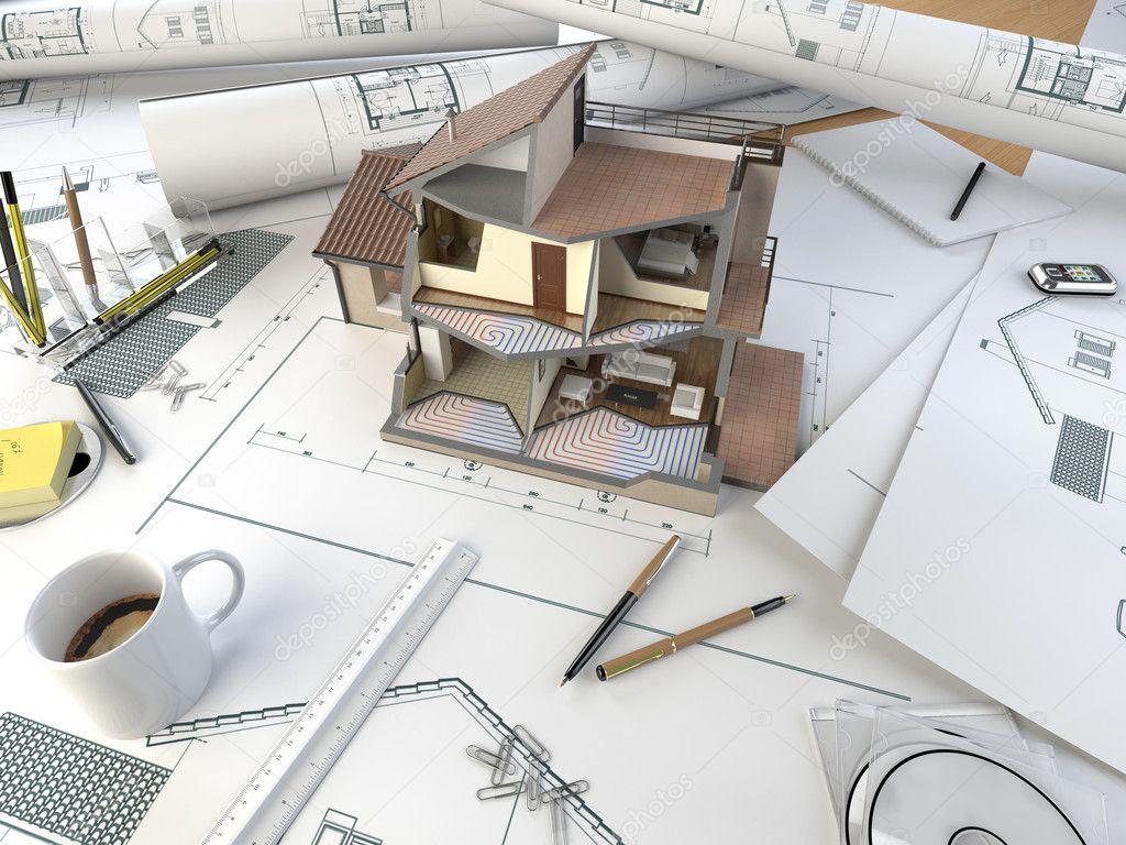 Tavolo da disegno architetto con modello di sezione foto for Piani di una casa piani con foto interne