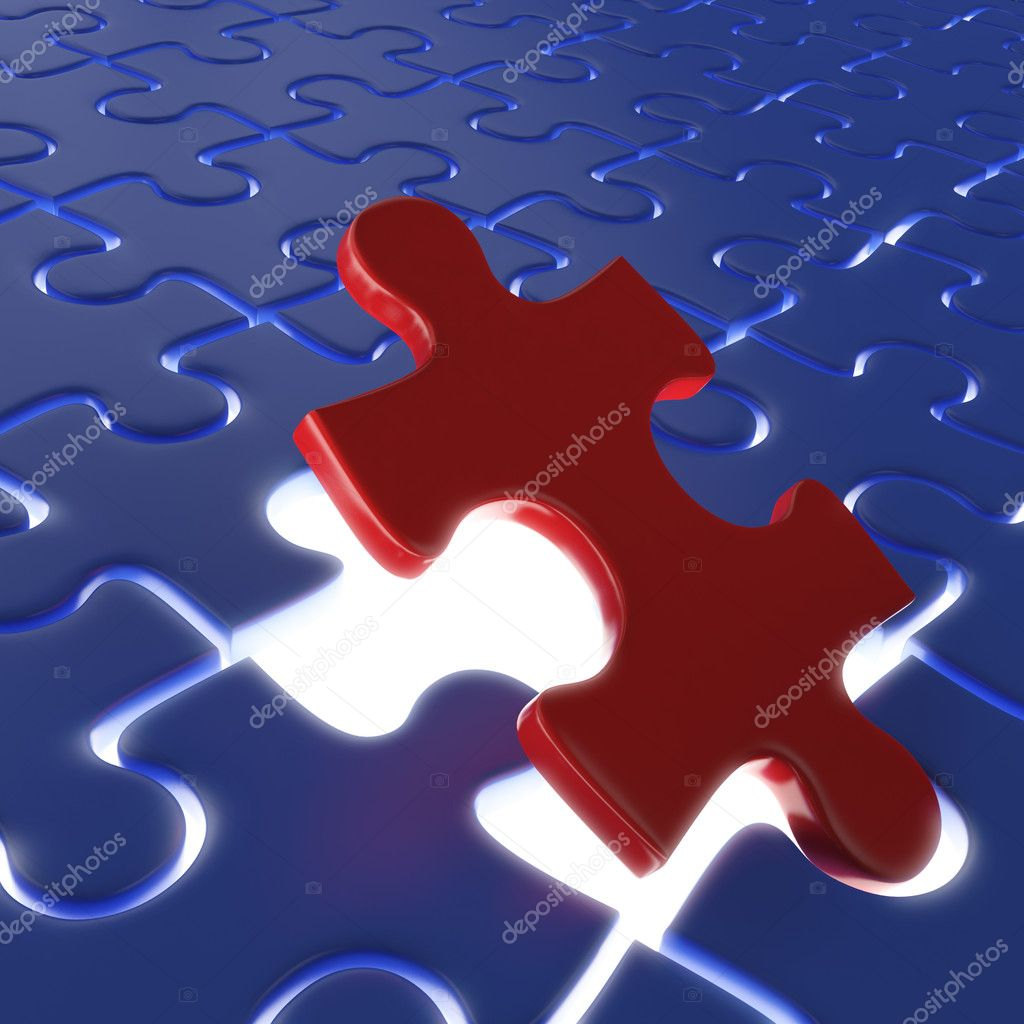 Fitting the last piece of a puzzle as concept for achievment or success — Stock Photo #8198119