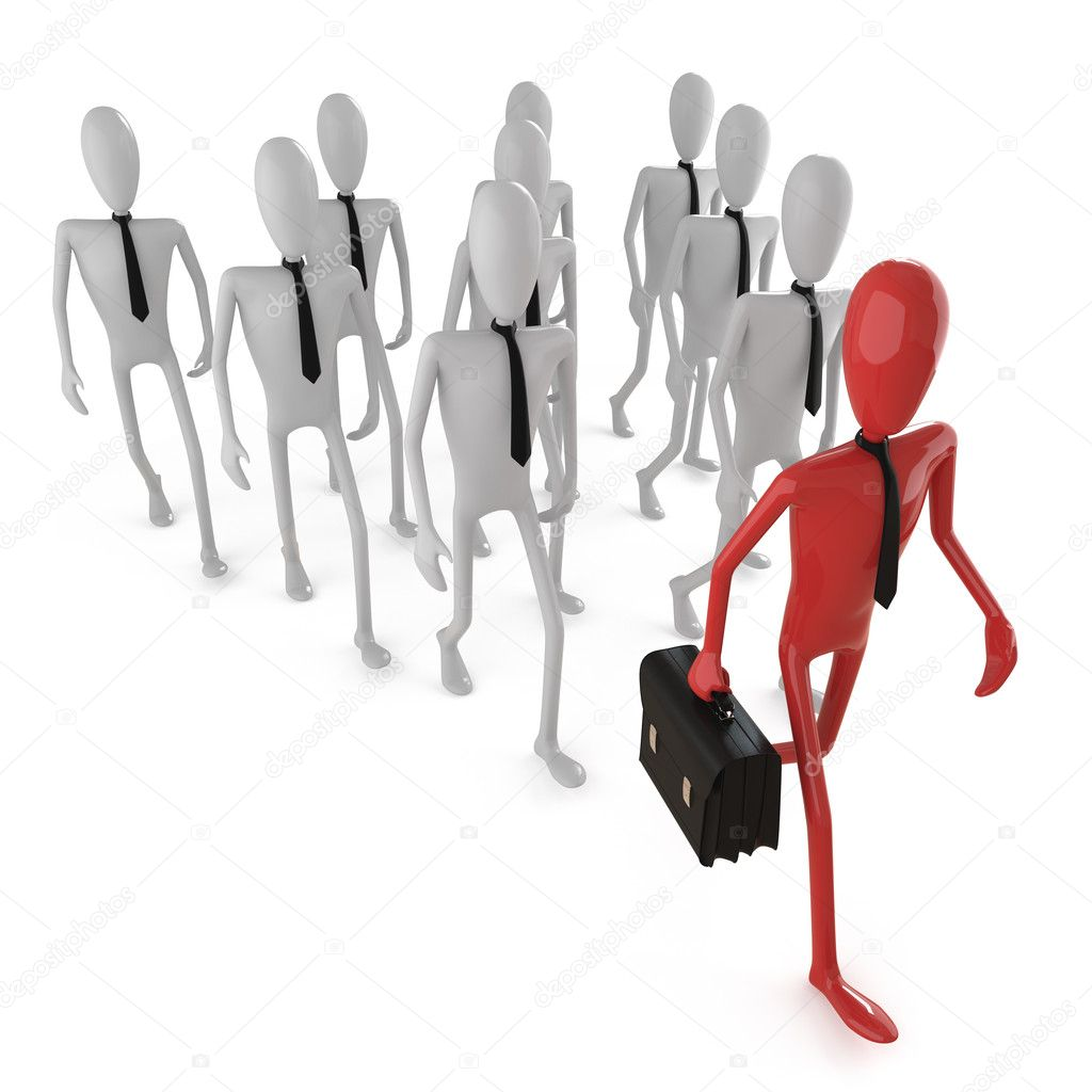 Group of bussines dummys following a leader. This image contains clipping path for exact isolation from the background — Stock Photo #8198893