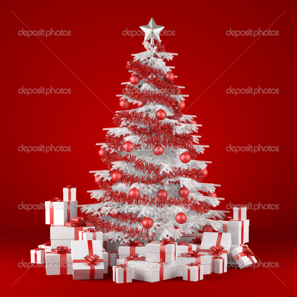 White christmas tree on red background stock photo 169 arquiplay77