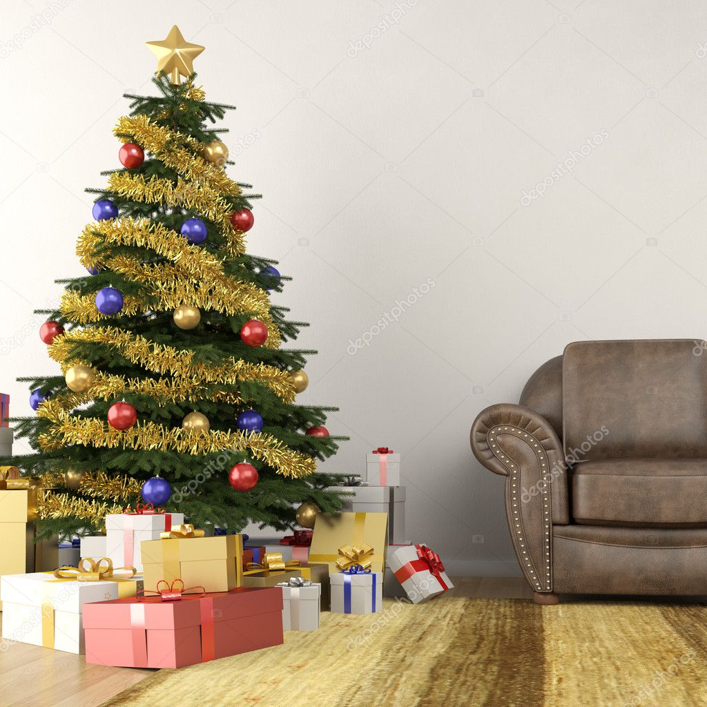 Christmas tree in living room — Stock Photo © arquiplay77 ...