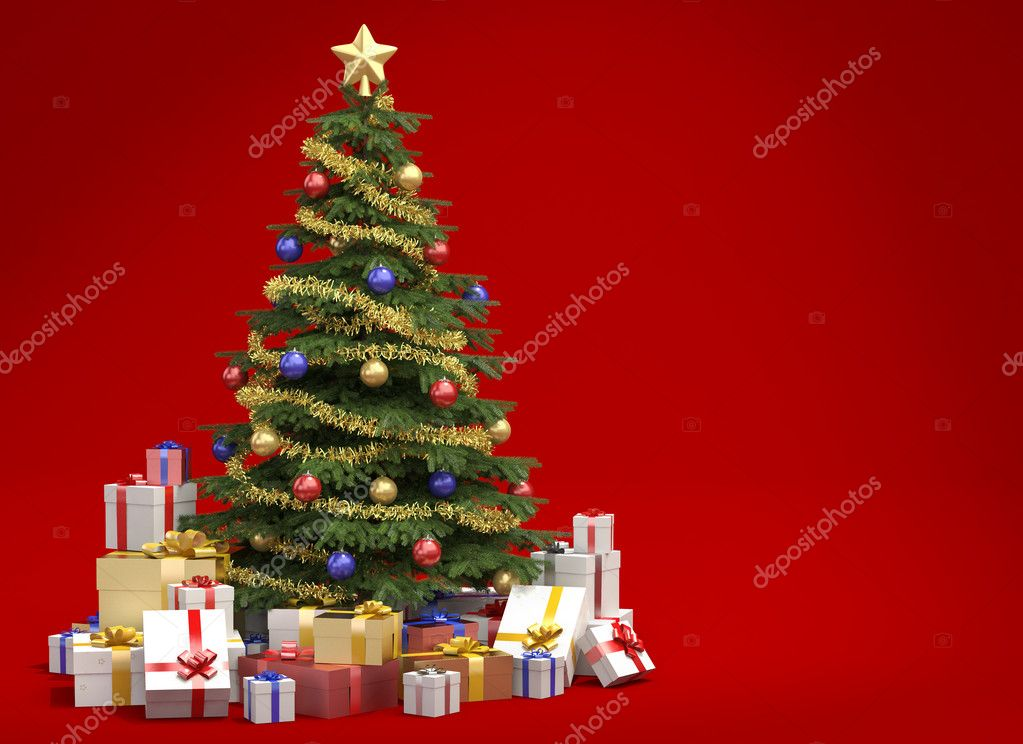 Fully decorated christmas tree with many presents isolated on red background with copy space on the right — Stock Photo #8199715