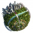 Stock Photo: Suburbs and city globe concept