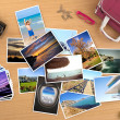 ������, ������: Many pictures of a trip on a desktop