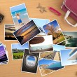 Royalty-Free Stock Photo: Many pictures of a trip on a desktop